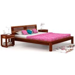 Lynet Bed Without Storage (Queen Size, Teak Finish)