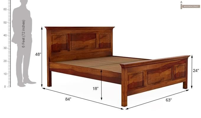 Charles Bed Without Storage (Queen Size, Honey Finish)-9