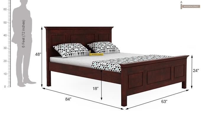 Charles Bed Without Storage (Queen Size, Mahogany Finish)-4