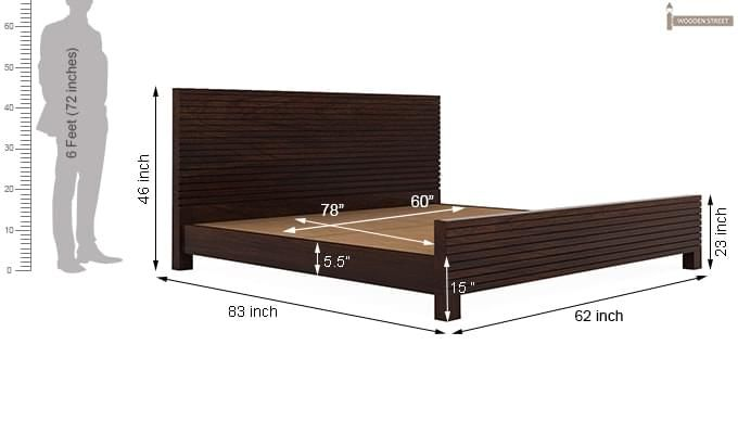 Felner Bed Without Storage (Queen Size, Walnut Finish)-10