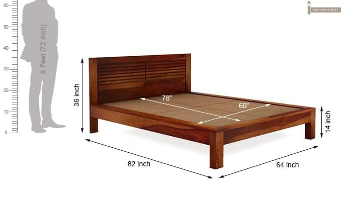 Gayle Bed Without Storage (Queen Size, Honey Finish)-7