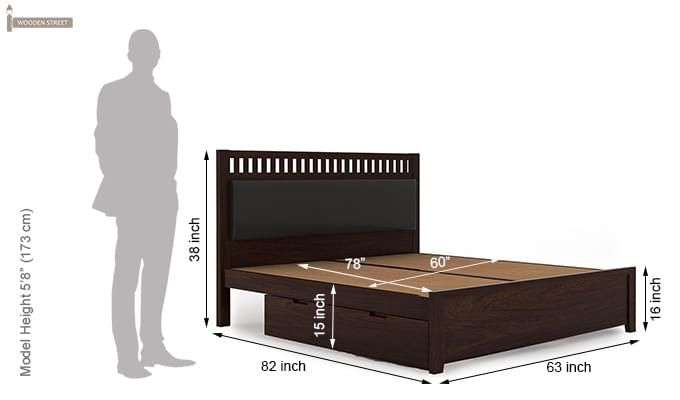 Javert Bed With Storage (Queen Size, Walnut Finish)-13