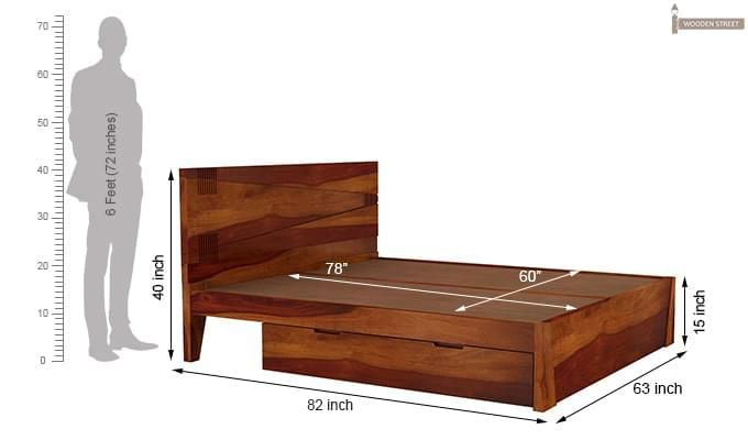 Sefra Bed With Storage (Queen Size, Honey Finish)-9