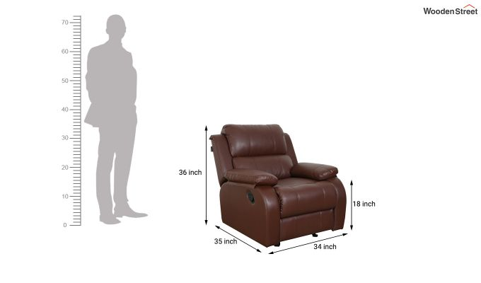 Cheer 1 Seater Recliner (Brown)-6