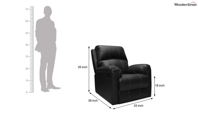 Spino 1 Seater Recliner (Black)-6