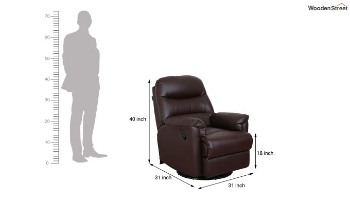 Wave 1 Seater Recliner (Brown)-8