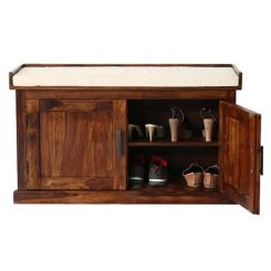 Jenny Shoe Cabinet With Seat (Teak Finish)