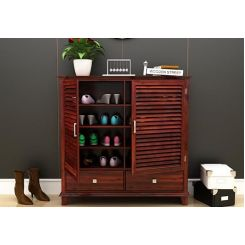 Velvic Footwear Rack With Drawers (Mahogany Finish)
