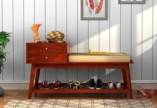 Modern wooden shoe raack online shopping India