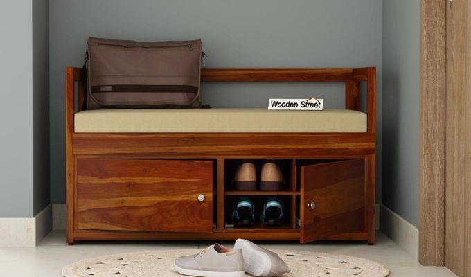 Berwick Shoe Cabinet (Honey Finish)-1