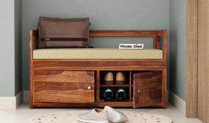 Berwick Shoe Cabinet (Teak Finish)-1