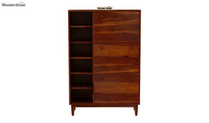 Casa Shoe Rack with Shelves (Honey Finish)-4