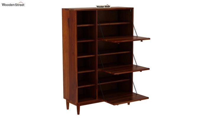 Casa Shoe Rack with Shelves (Honey Finish)-5