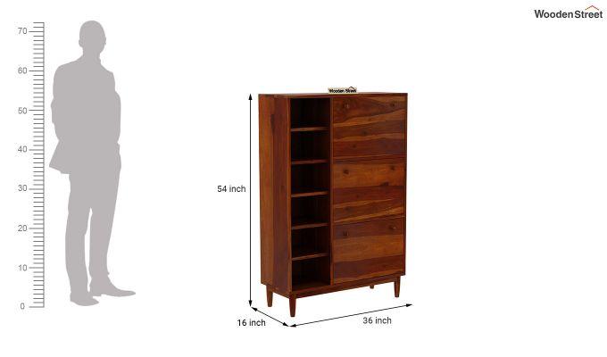 Casa Shoe Rack with Shelves (Honey Finish)-7