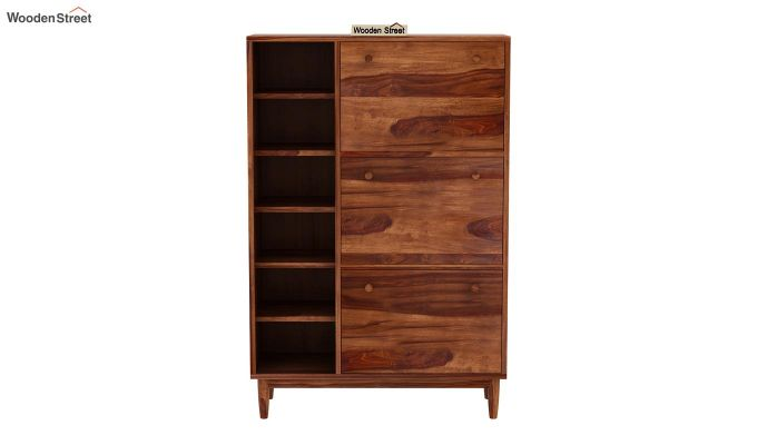 Casa Shoe Rack with Shelves (Teak Finish)-4