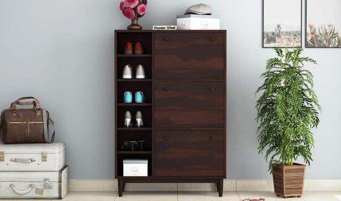 Casa Shoe Rack with Shelves (Walnut Finish)-2