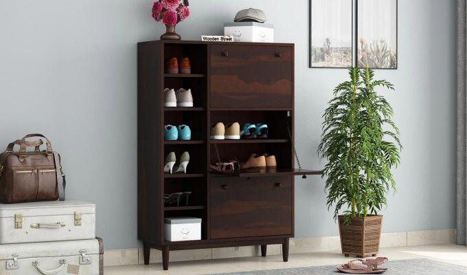 Casa Shoe Rack with Shelves (Walnut Finish)-1
