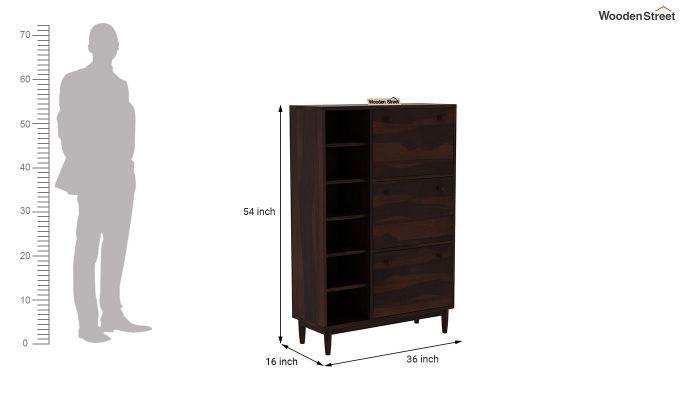 Casa Shoe Rack with Shelves (Walnut Finish)-7