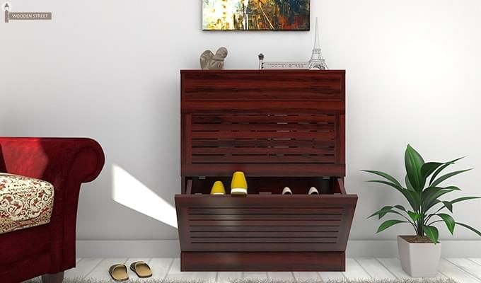 Catlin Shoe Rack (Mahogany Finish)-1