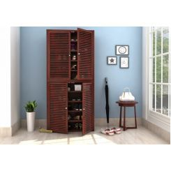 Deny Shoe Cabinet Set Of-2 (Mahogany Finish)