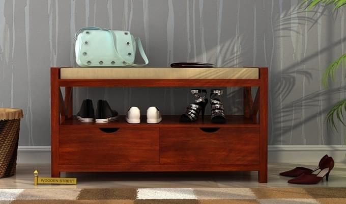 Dionne Shoe Cabinet (Honey Finish)-1