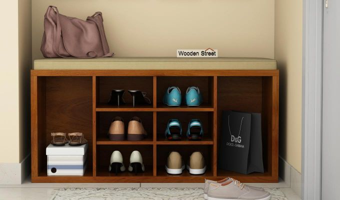 Evora Shoe Cabinet (Honey Finish)-1