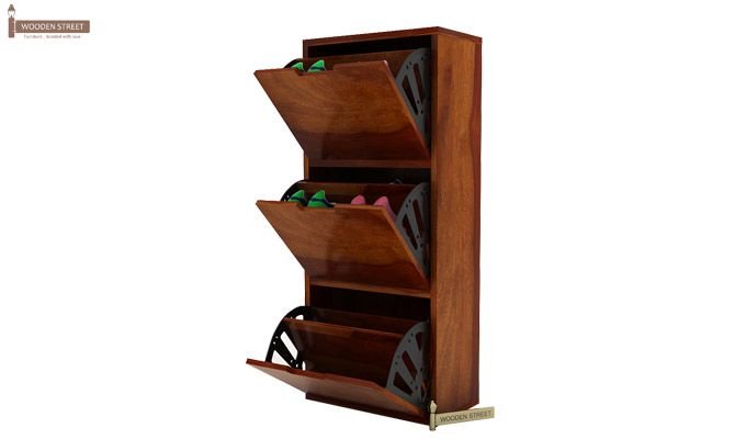 Ferron Shoe Rack (Honey Finish)-1