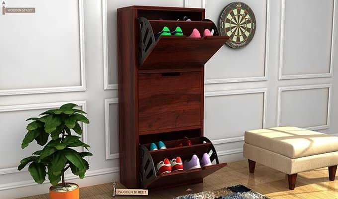 Ferron Shoe Rack (Mahogany Finish)-1