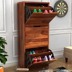 Ferron Shoe Rack (Teak Finish)