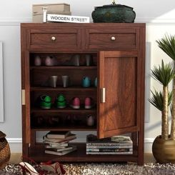 Helena Shoe Storage Unit (Walnut Finish)