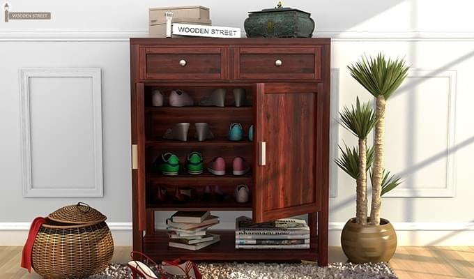 Helena Shoe Storage Unit (Mahogany Finish)-1