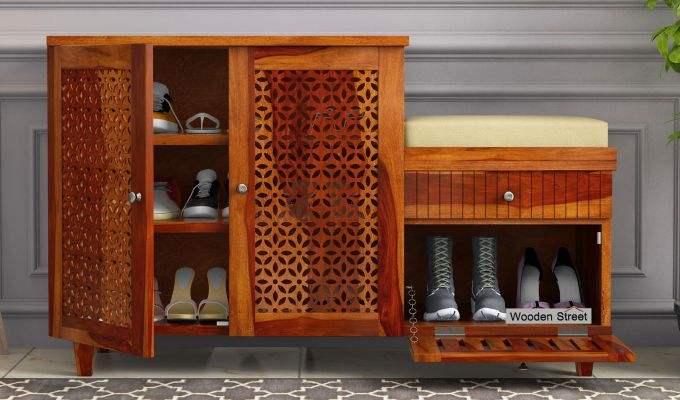 Hopkin Shoe Rack (Honey Finish)-1