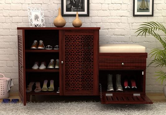 Slipper Stand Designs : Wooden shoe rack buy racks online in india at