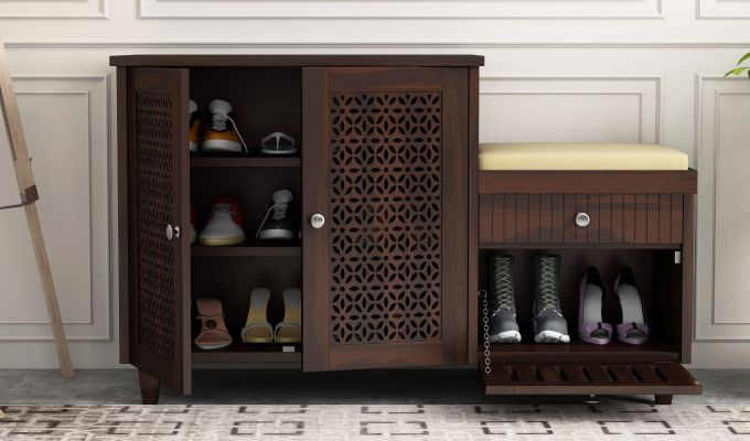Hopkin Shoe Rack (Walnut Finish)-1