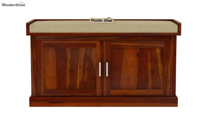 Jenny Shoe Cabinet With Seat (Honey Finish)-4