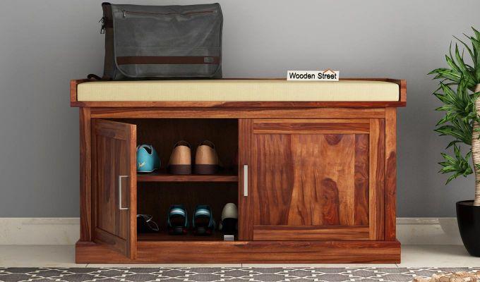 Jenny Shoe Cabinet With Seat (Teak Finish)-2