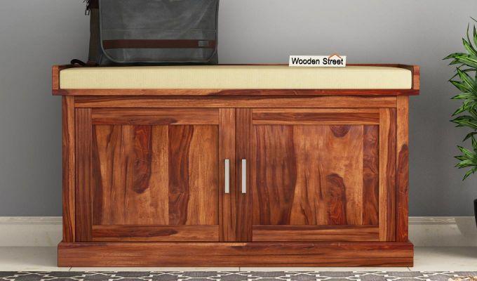 Jenny Shoe Cabinet With Seat (Teak Finish)-1