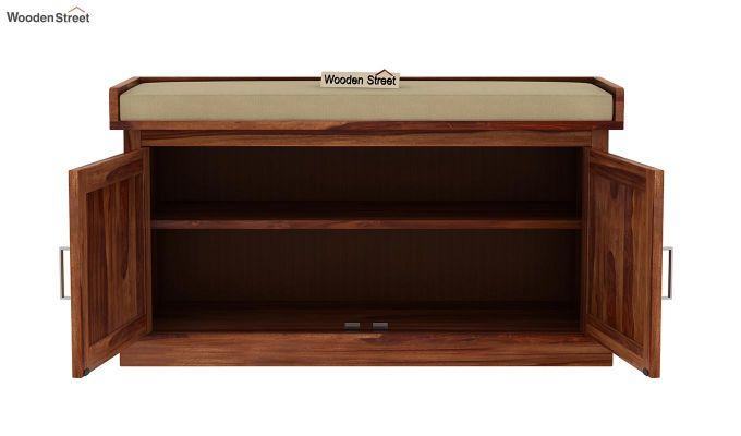 Jenny Shoe Cabinet With Seat (Teak Finish)-5