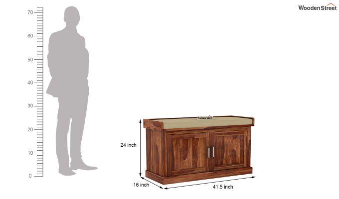 Jenny Shoe Cabinet With Seat (Teak Finish)-6