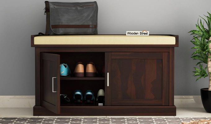 Jenny Shoe Cabinet With Seat (Walnut Finish)-2