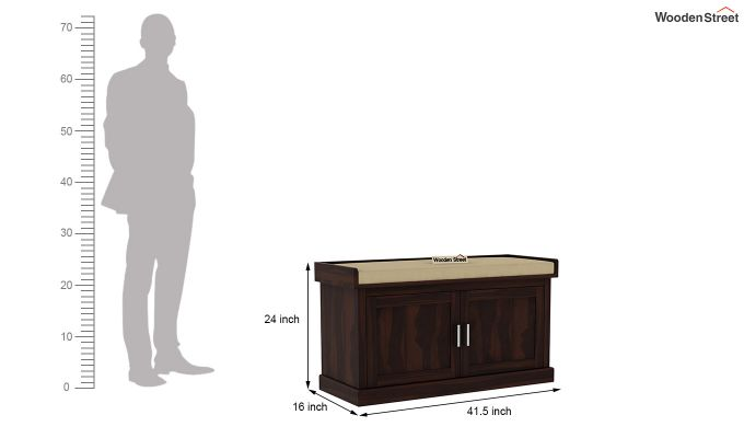 Jenny Shoe Cabinet With Seat (Walnut Finish)-6