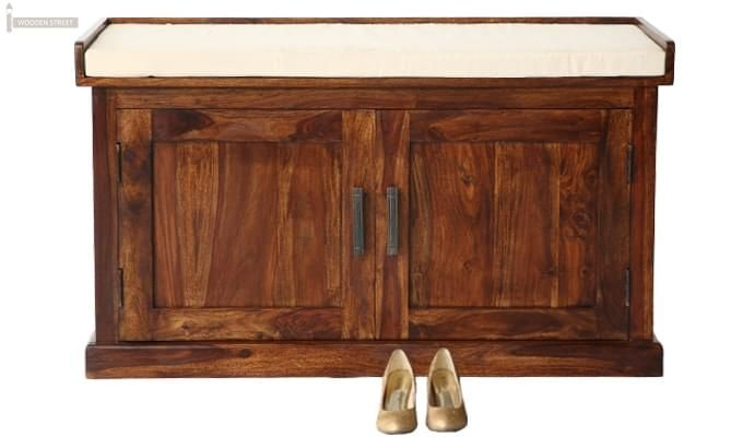 Jenny Shoe Cabinet With Seat (Teak Finish)-2