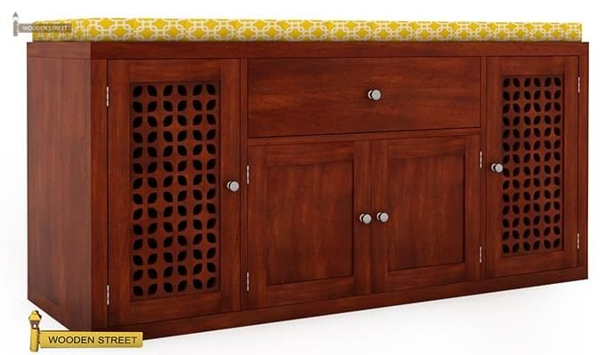Leomore Shoe Cabinet (Honey Finish)-2