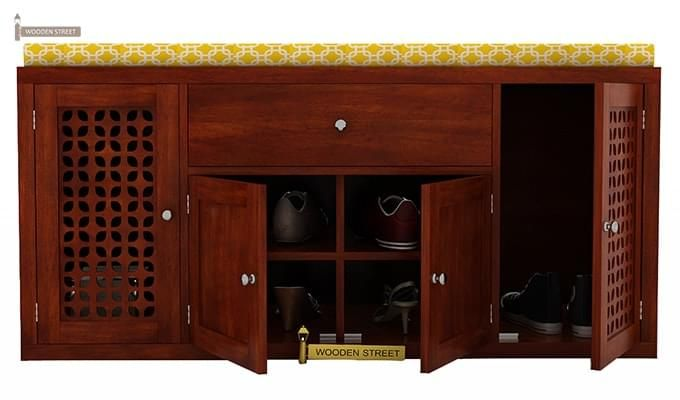 Leomore Shoe Cabinet (Honey Finish)-4