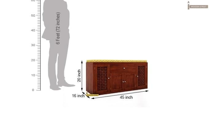 Leomore Shoe Cabinet (Honey Finish)-5