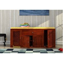 Leomore Shoe Cabinet (Honey Finish)