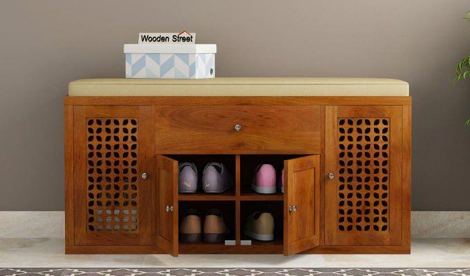 Leomore Shoe Cabinet (Honey Finish)-2