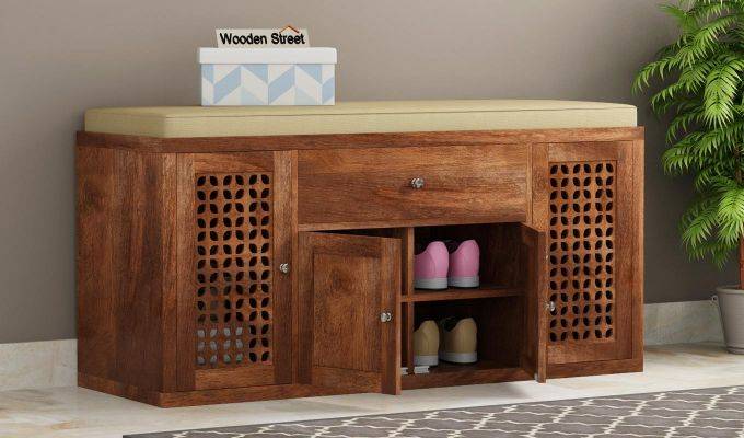 Leomore Shoe Cabinet (Teak Finish)-1
