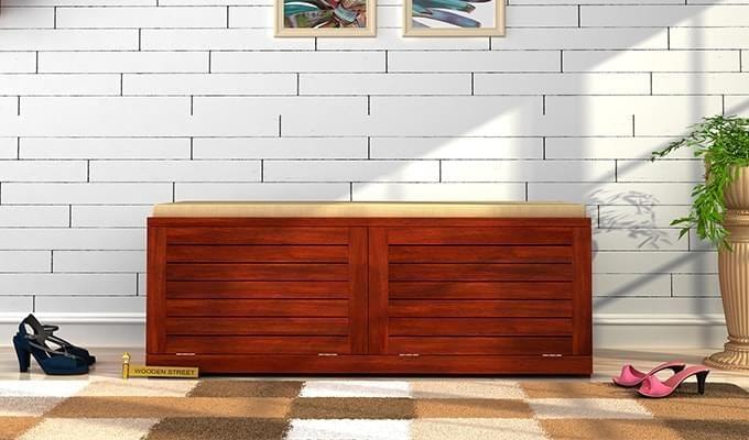 Lorenzo Shoe Cabinet (Honey Finish)-1