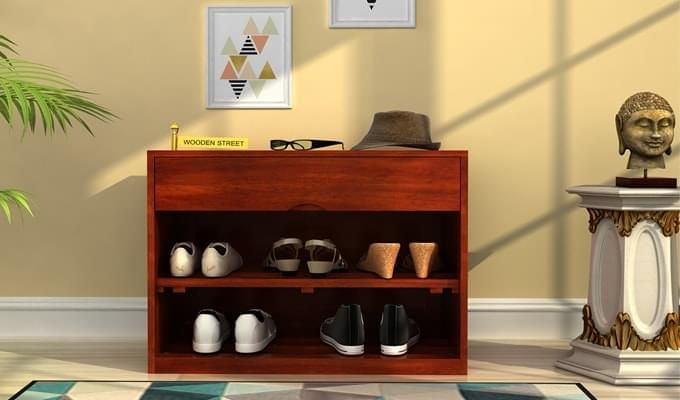 Merilyn Shoe Cabinet (Honey Finish)-1